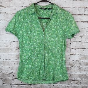 Green Floral Short Sleeve Button Down Top Small